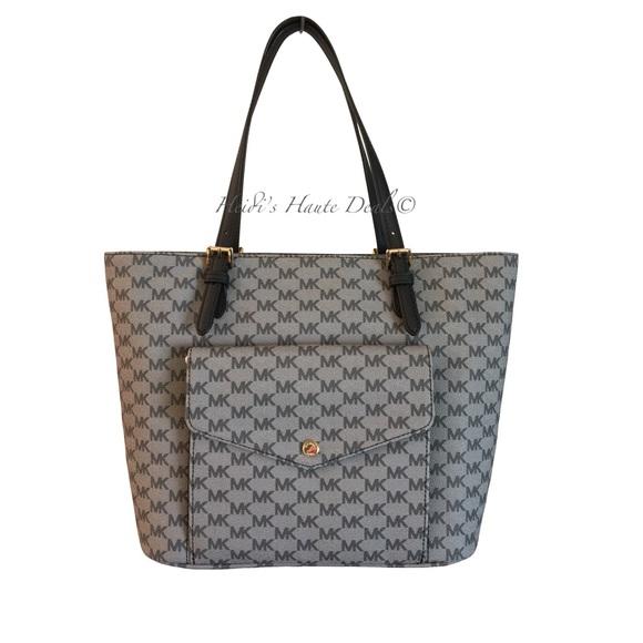 84d102d90feb ... cheapest michael kors large black mk logo pocket tote purse c3004 05c12